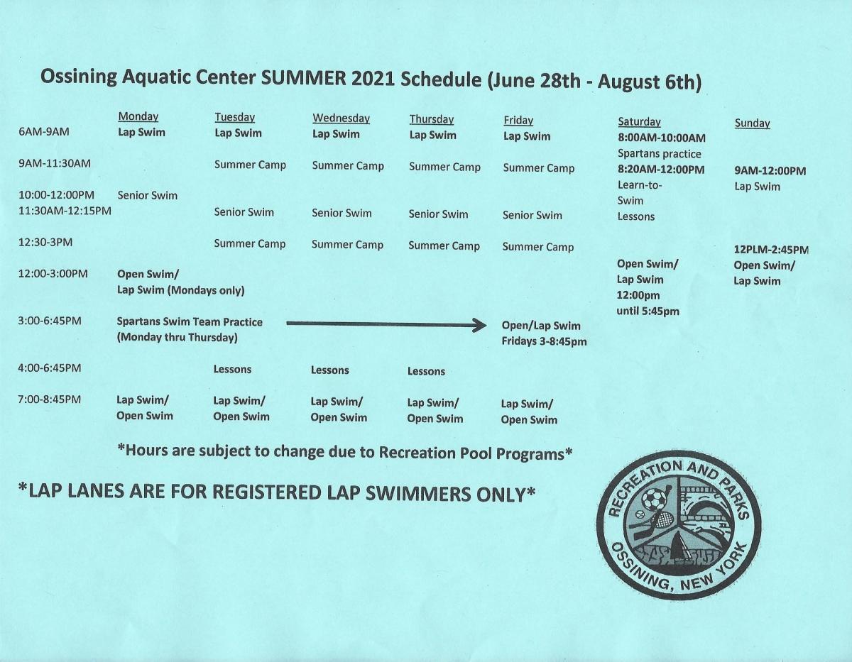 Summer Aquatics Schedule 2021